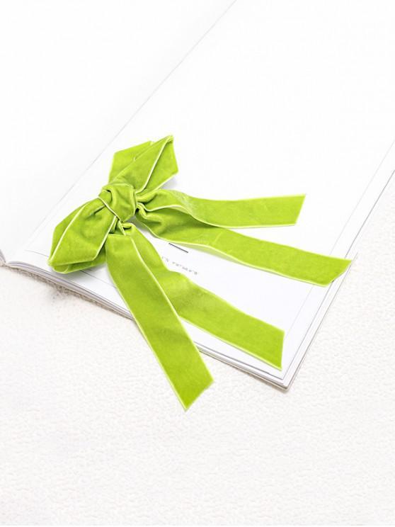 Велюровая Заколка для волос С бантом - Желтовато-зеленый