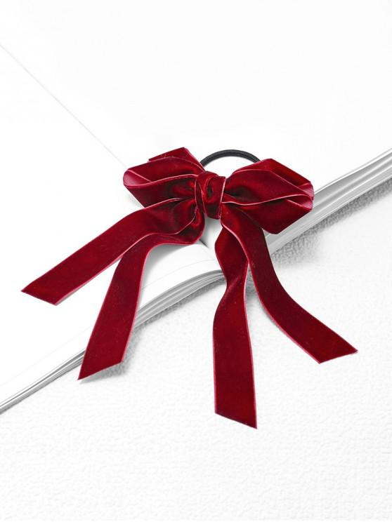 women's Bowknot Elastic Hair Band Tie - RED WINE