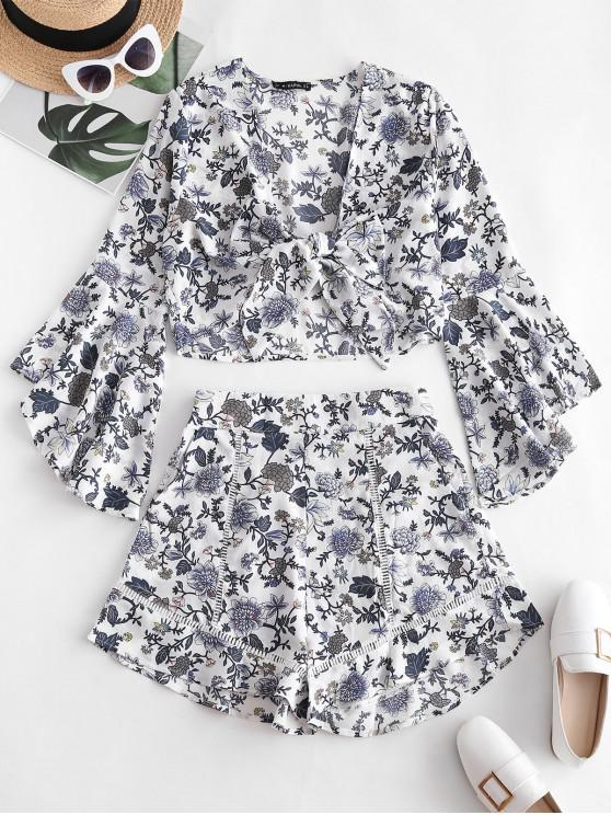 chic Plant Print Ruffles Two Piece Set - WHITE M