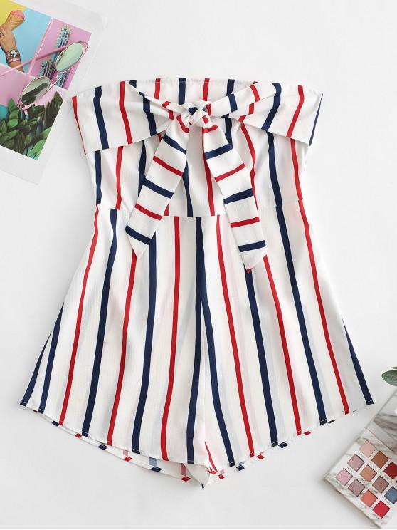 buy ZAFUL Knot Front Striped Bandeau Romper - MULTI-F M
