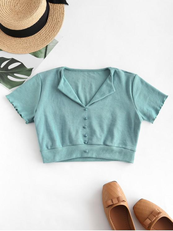 lady Ribbed Mock Button Crop T-shirt - LIGHT SEA GREEN M