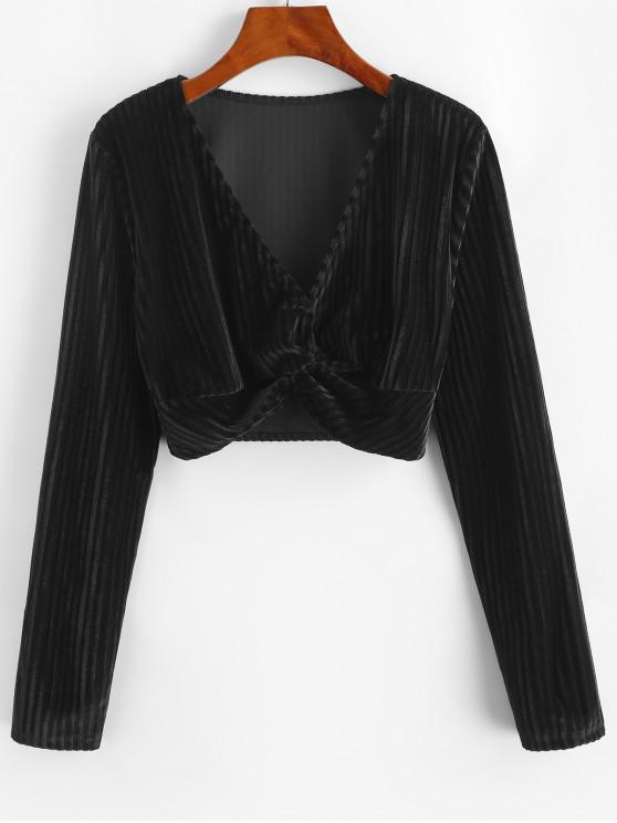 hot Twisted Velvet Plunging Crop Blouse - BLACK L