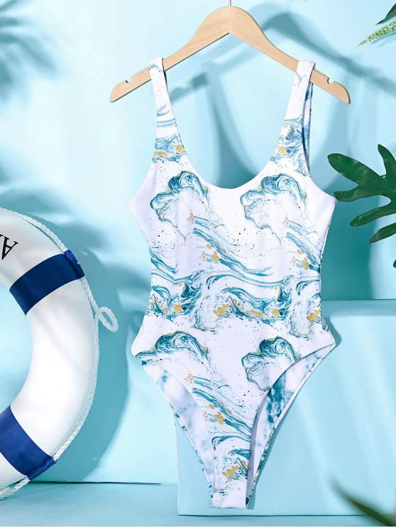 women ZAFUL Ocean Print Reversible One-piece Swimsuit - LIGHT SEA GREEN L