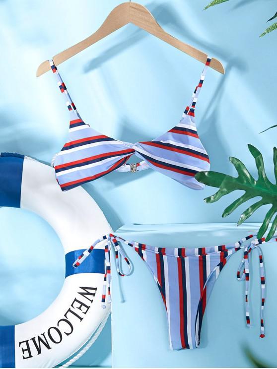 outfit ZAFUL Striped Twist Front Tied Bikini Set - MULTI-A L