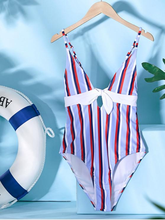 ZAFUL listrado atado uma peça Swimsuit - Multi-A XL