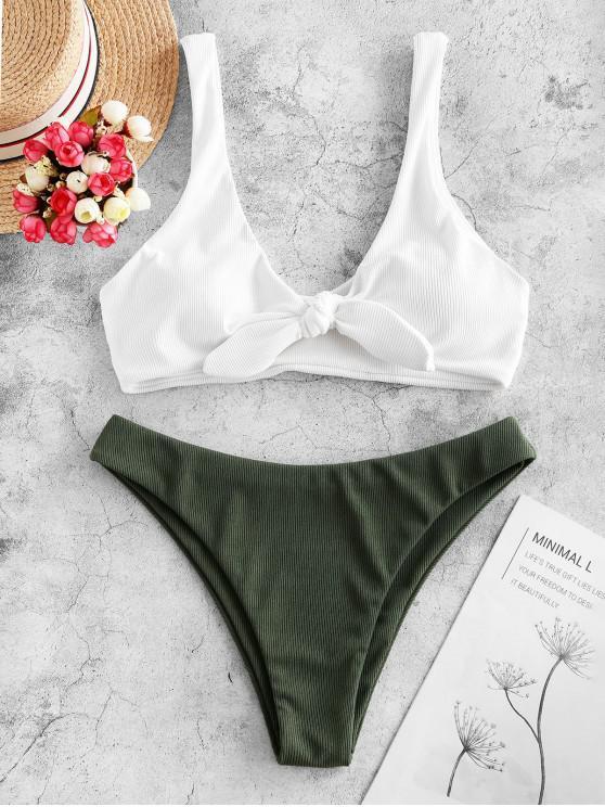 ZAFUL costine annodata sul davanti Bikini Swimsuit - Bianca L