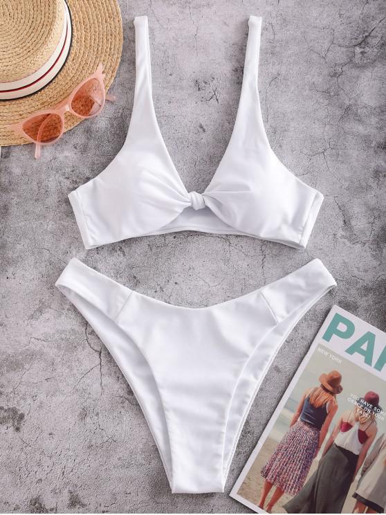 lady ZAFUL Bow High Leg Bikini Swimsuit - WHITE M