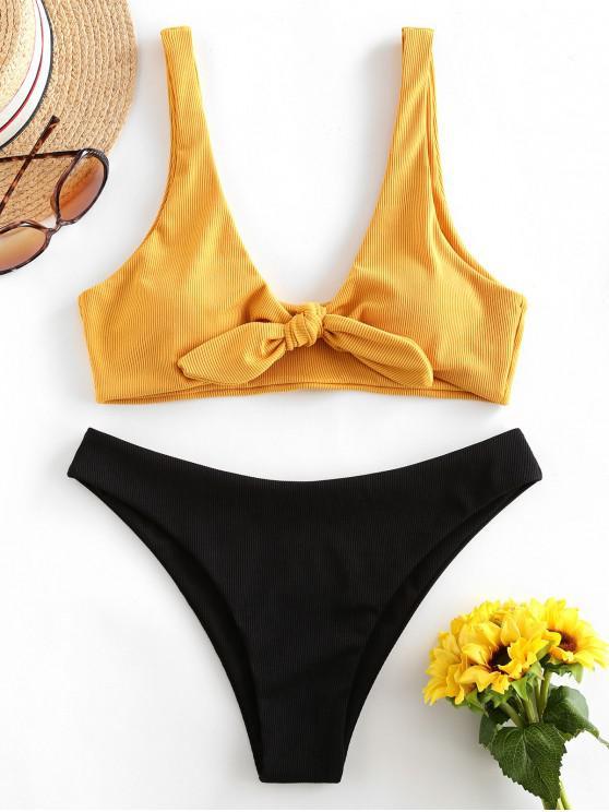 womens ZAFUL Ribbed Tie Front Bikini Swimsuit - BEE YELLOW M