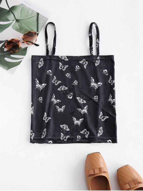 outfit Velvet Butterfly Print Crop Cami Top - BLACK S