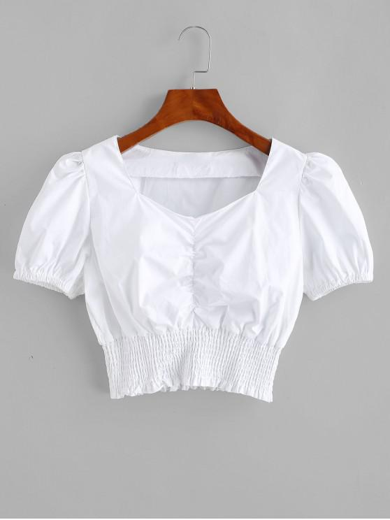 shops Smocked Ruched Sweetheart Crop Blouse - SILK WHITE M