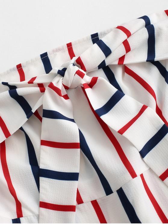 ZAFUL Knot Front Striped Bandeau Romper - Multi-f S