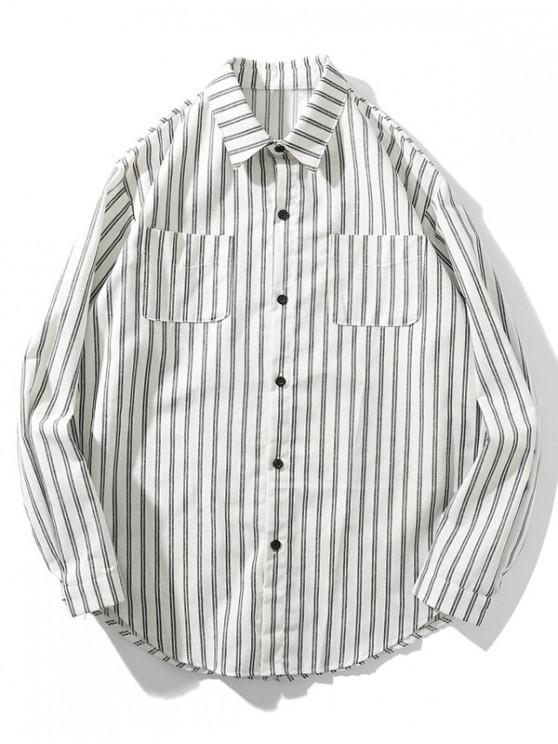 Gestreiftes Taschen Hemd mit Abgerundetem Saum und Langarm - Weiß 2XL