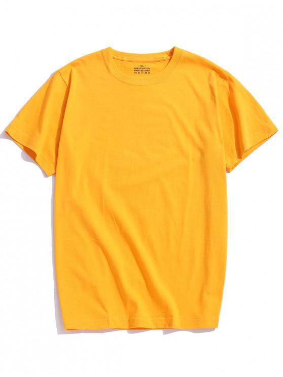 كم الصلبة اللون قصير تي شيرت - بني ذهبي 3XL