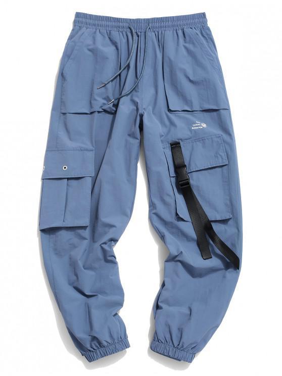 women's Flap Pocket Letter Print Drawstring Cargo Pants - DENIM BLUE M