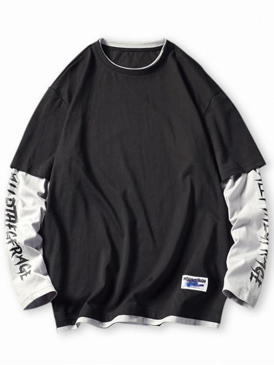 lady Letter Colorblock Faux Twinset T-shirt - BLACK M