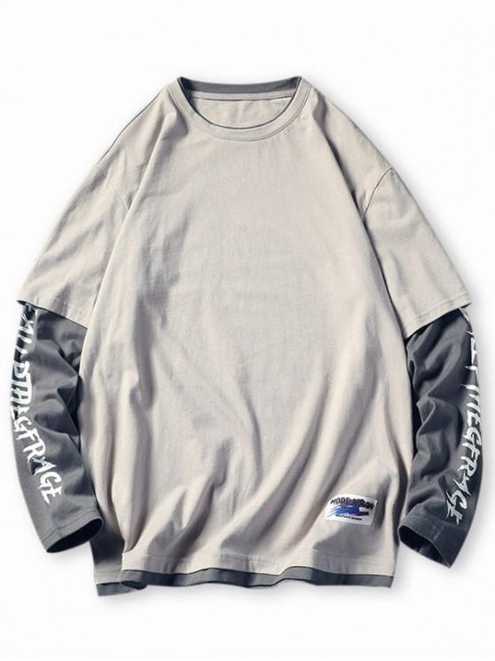 buy Letter Colorblock Faux Twinset T-shirt - LIGHT GRAY 4XL