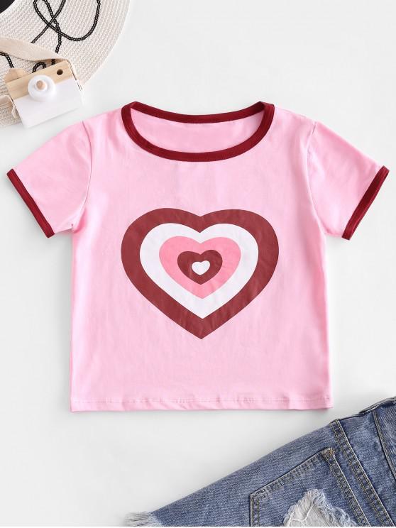 hot Heart Print Crop Ringer T-shirt - PINK ROSE S