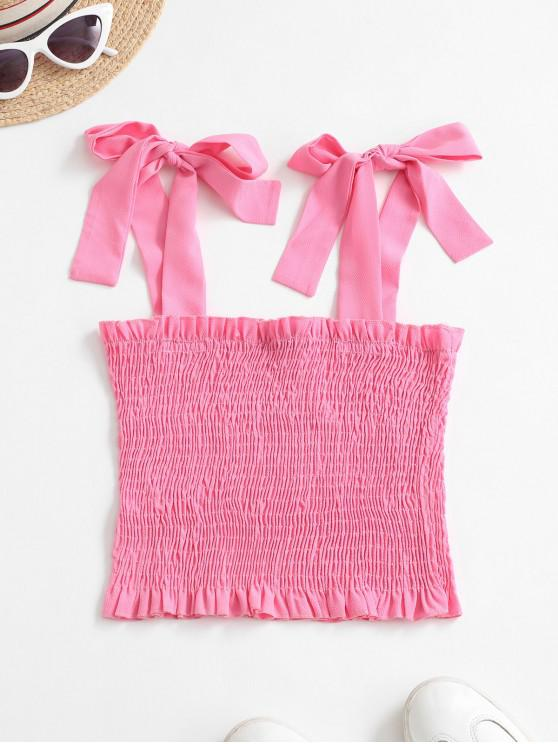 trendy Solid Smocked Tie Shoulder Tank Top - PINK ROSE M