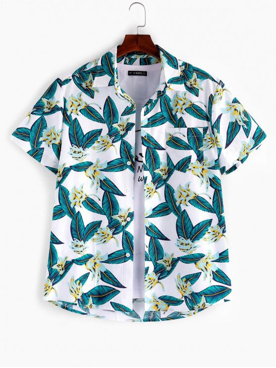 women's ZAFUL Leaf Floral Pattern Casual Shirt - MULTI 2XL