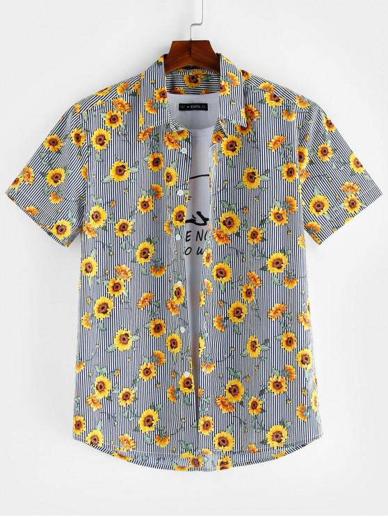 trendy ZAFUL Floral Pattern Button Short Sleeves Shirt - MULTI S