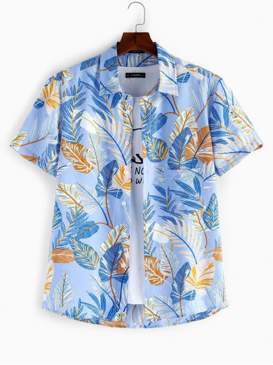 women's ZAFUL Leaf Print Short Sleeves Shirt - DAY SKY BLUE S