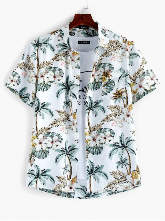 unique ZAFUL Leaf Floral Printed Short Sleeves Shirt - MULTI M