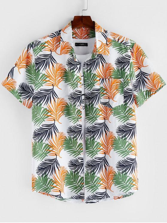 chic ZAFUL Leaf Print Short Sleeves Button Shirt - MULTI 2XL