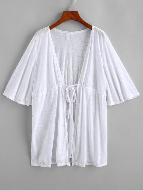 Saída de Praia Estilo Kimono com Corda de Ajuste e Cordão - Branco Um Tamanho