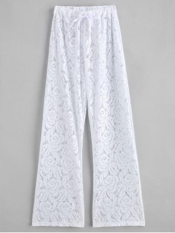 Lace Drawstring See Thru Cover Up Pants - أبيض حجم واحد