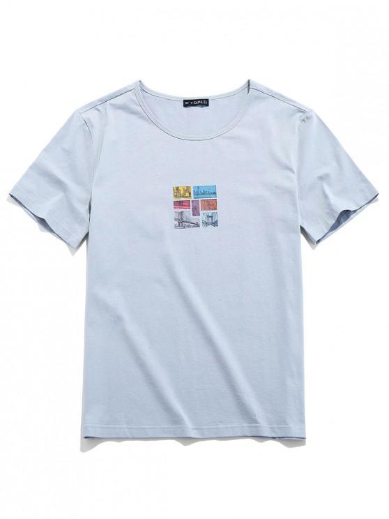 ZAFUL T-Shirt mit Grafikdruck und Kurzen Ärmeln - Hellgrau 2XL