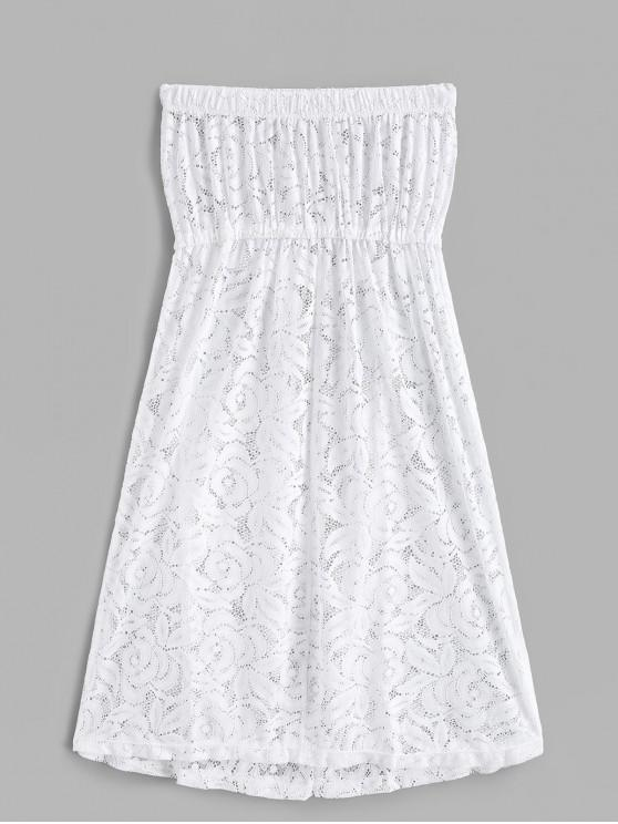 outfit Lace See Thru Bandeau Cover Up Dress - WHITE ONE SIZE