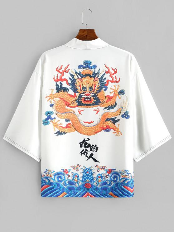 unique Dragon Huge Sea Waves Print Open Front Kimono Cardigan - WHITE 2XL
