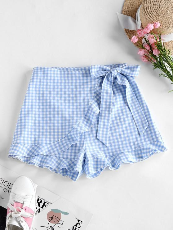 outfit ZAFUL Gingham Bowknot Ruffle Overlap Shorts - POWDER BLUE L