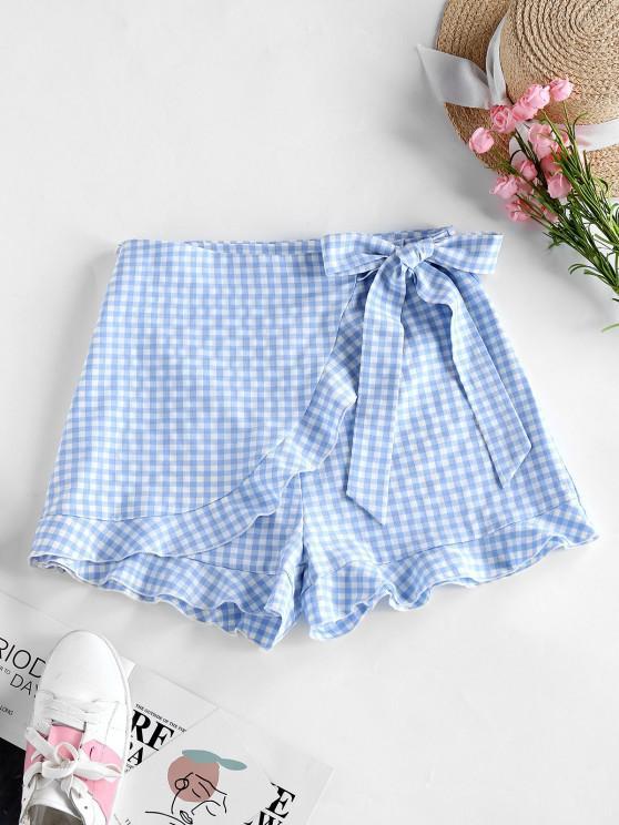 shops ZAFUL Gingham Bowknot Ruffle Overlap Shorts - POWDER BLUE XL