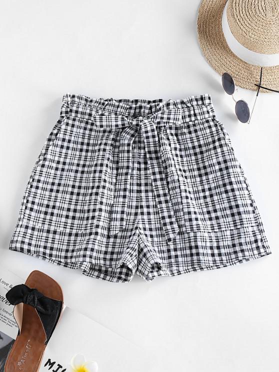 online ZAFUL Plaid Bowknot Pocket Casual Shorts - BLACK L