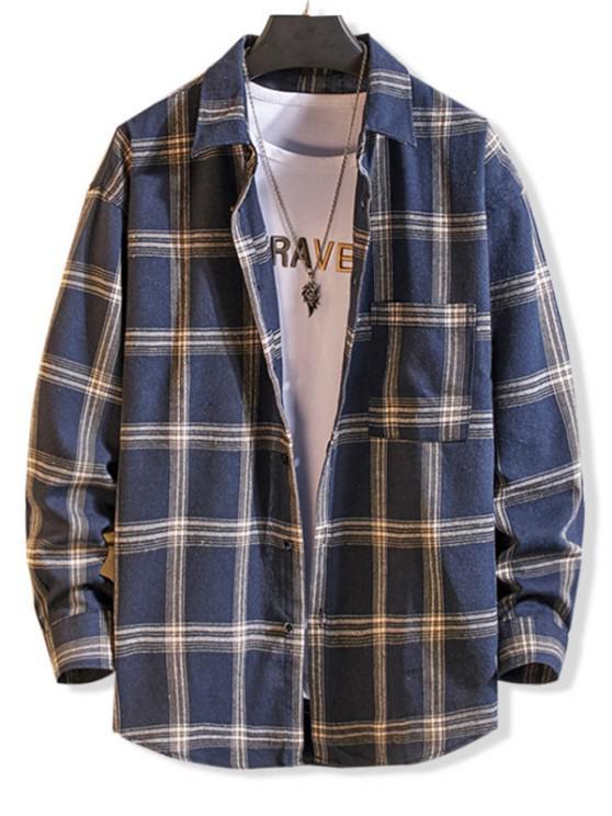 Langarm Kariertes Taschen Knopf Hemd - Blau L