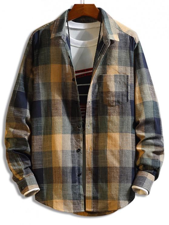 Camisa a Cuadros de Manga Larga con Botón y Bolsillo en Pecho - Multicolor M