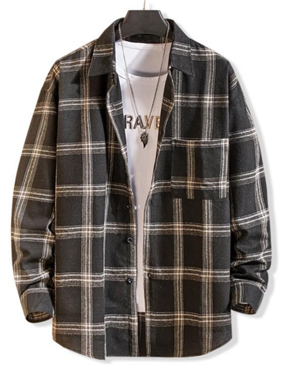 Langarm Kariertes Taschen Knopf Hemd - Schwarz XL