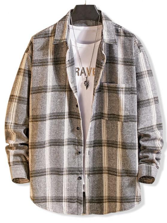 buy Long Sleeve Plaid Pocket Button Shirt - LIGHT GRAY M