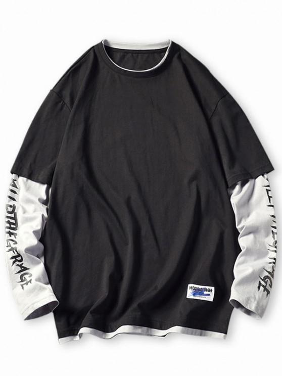 T-shirt Lettre en Blocs de Couleurs Fausse Deux Pièces - Noir 4XL