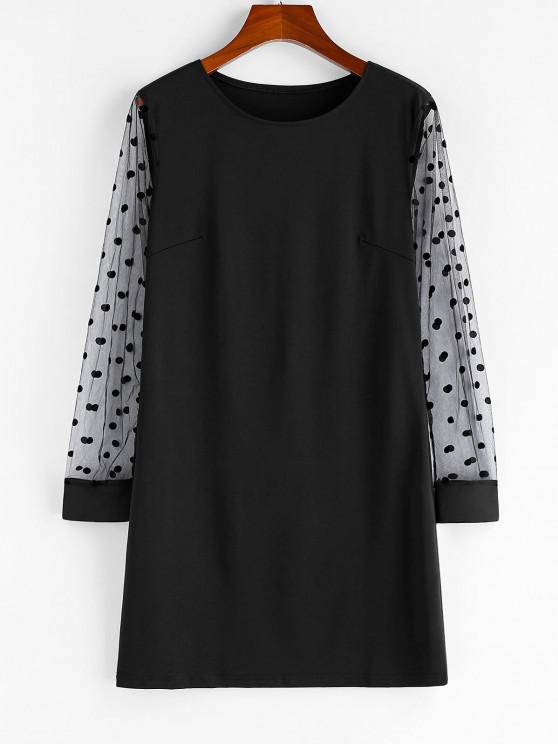 womens Polka Dot Mesh Sleeve Shift Mini Dress - BLACK S