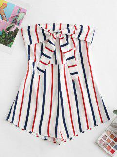 ZAFUL Knot Front Striped Bandeau Romper - Multi-f S