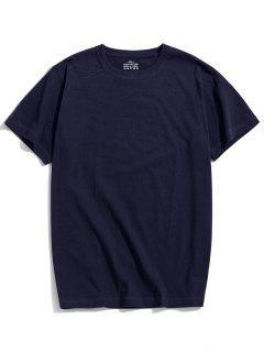Solid Color Short Sleeve T-shirt - Deep Blue L