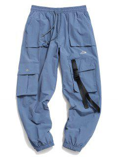 Flap Pocket Letter Print Drawstring Cargo Pants - Denim Blue M