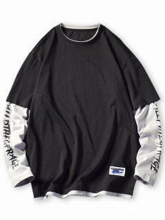 Letter Colorblock Faux Twinset T-shirt - Black L