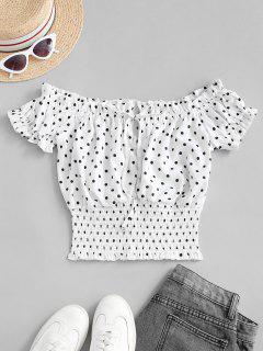 Tie Collar Dotted Smocked Blouse - White L