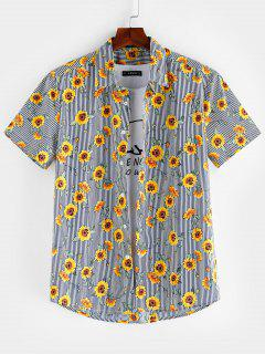 ZAFUL Floral Pattern Button Short Sleeves Shirt - Multi M