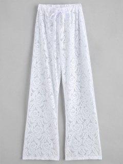 Pantalon De Couverture En Dentelle Transparente à Cordon - Blanc
