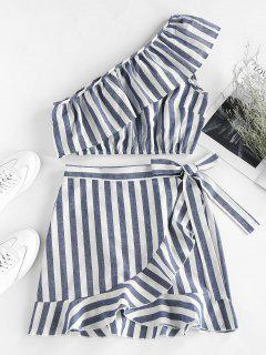 ZAFUL Striped Ruffle One Shoulder Bowknot Skirt Set - Multi-a Xl