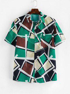 ZAFUL Striped Geometric Print Short Sleeve Button Shirt - Multi Xl